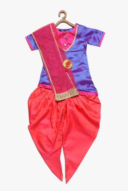PSPeaches Kids Blue & Red Printed Kurti With Dhoti
