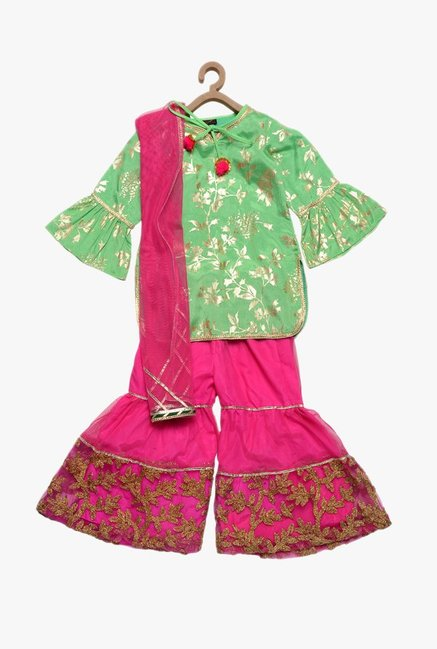 9b4c90572972d Buy PSPeaches Green   Pink Printed Kurti With Sharara for Girls ...