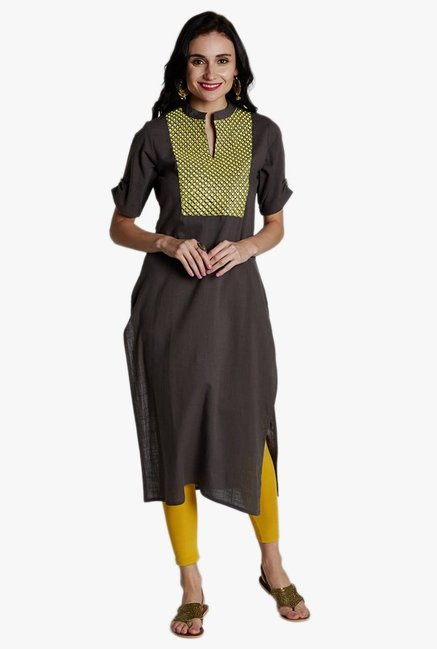 Jaipur Kurti Grey Embroidered Kurta