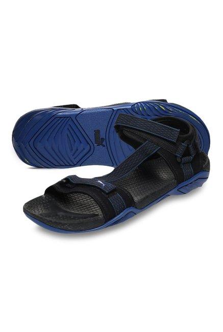 146bf6a660ba Buy Puma Aqua IDP Black   True Blue Floater Sandals for Men at Best ...