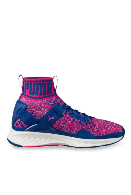 Buy Puma Ignite evoKNIT Knockout Pink   True Blue Running Shoes for Women  at Best Price   Tata CLiQ 110eb605c