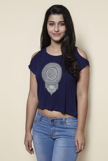 c50287b1e1ab6 Buy Zudio Navy Cold-Shoulder Slim Fit Top for Women Online   Tata CLiQ