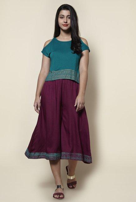 08bcd88d726c6b Buy Zudio Teal Printed Cold-shoulder Slim Fit Top for Women Online ...