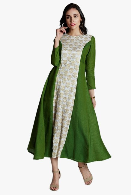 Jaipur Kurti Green & White Printed Midi Dress
