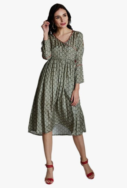 Jaipur Kurti Grey Printed Below Knee Dress