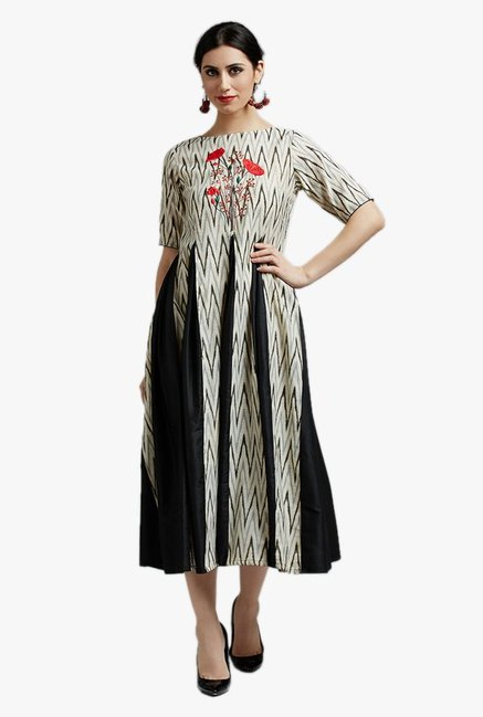 Jaipur Kurti Beige & Black Embroidered Below Knee Dress