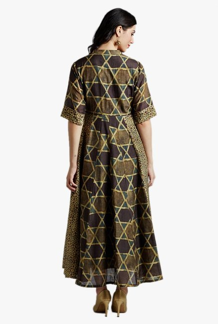 Jaipur Kurti Green Printed Maxi Dress