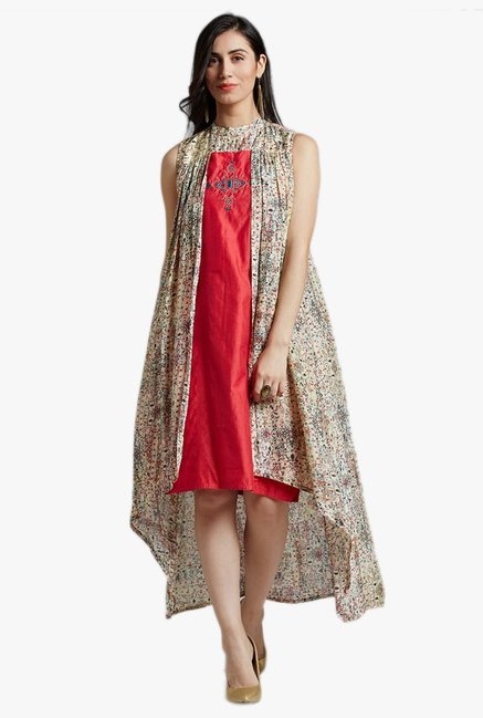 Jaipur Kurti Beige & Red Embroidered Knee Length Dress