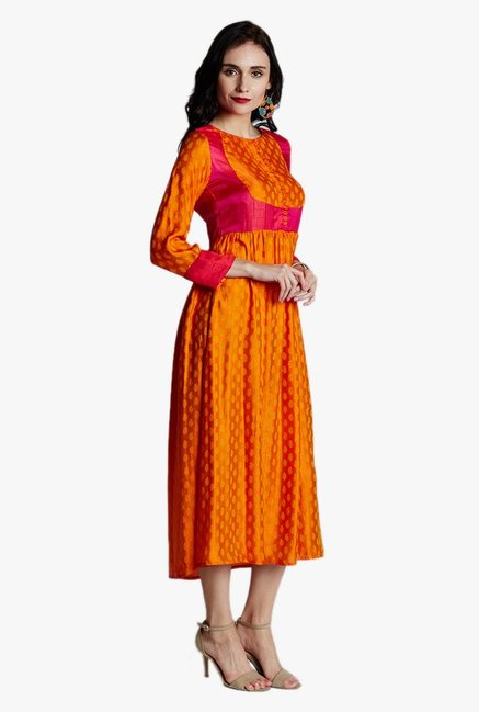 Jaipur Kurti Orange Printed Below Knee Dress