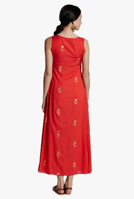 Jaipur Kurti Coral Embroidered Midi Dress