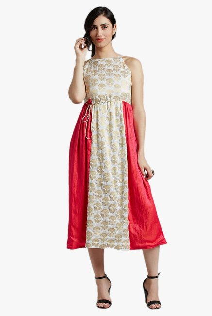 Jaipur Kurti White & Pink Printed Midi Dress