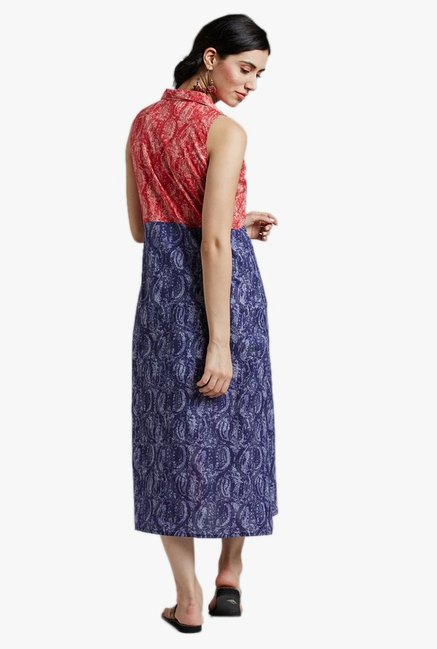 Jaipur Kurti Purple & Pink Paisley Print Midi Dress