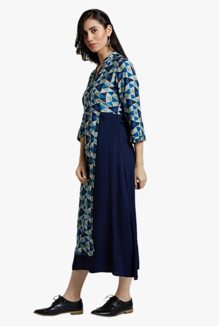 Jaipur Kurti Navy Geometric Print Midi Dress