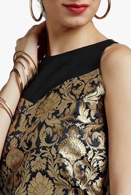 Jaipur Kurti Black Printed Crop top