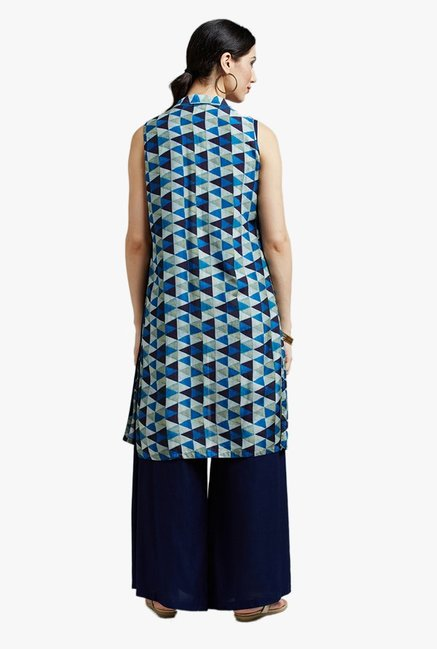 Jaipur Kurti Navy Embroidered Crop top