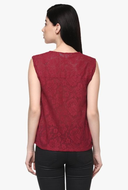Pannkh Red Lace Top