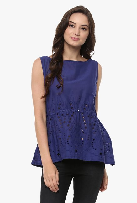 Pannkh Blue Printed Top
