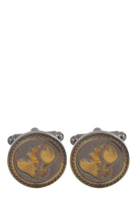 Raymond Dark Brown Engraved Metal Cufflinks