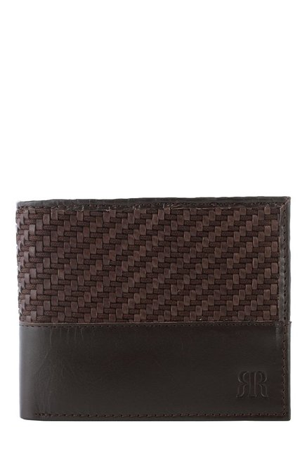 Raymond Dark Brown Interlaced Leather Bi-Fold Wallet