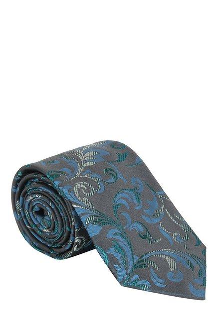 Raymond Dark Grey & Green Embroidered Silk Tie