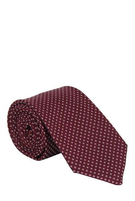 Raymond Maroon & White Jacquard Silk Tie
