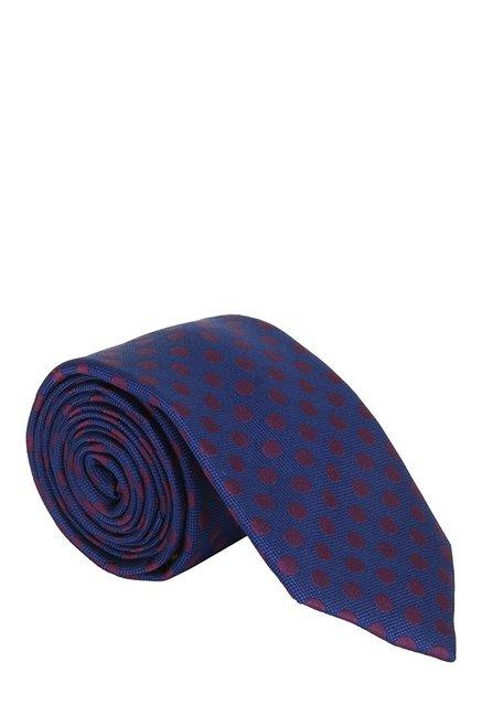 Raymond Dark Blue & Maroon Polka Dots Silk Tie