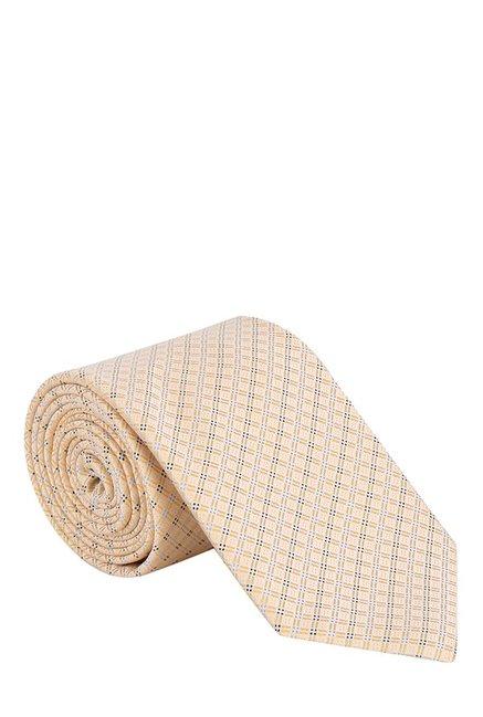 Raymond Cream Chequered Silk Tie