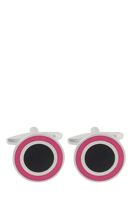 Raymond Black & Pink Solid Metal Cufflinks
