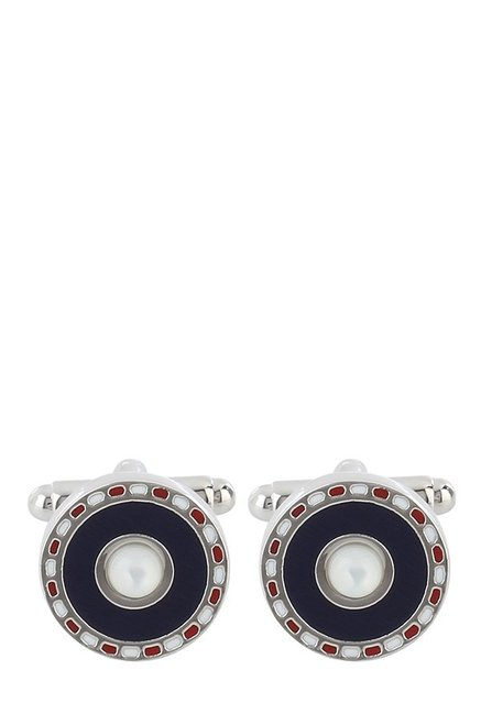 Raymond Black & White Embellished Metal Cufflinks