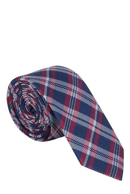 Raymond Dark Blue & White Plaid Silk Tie