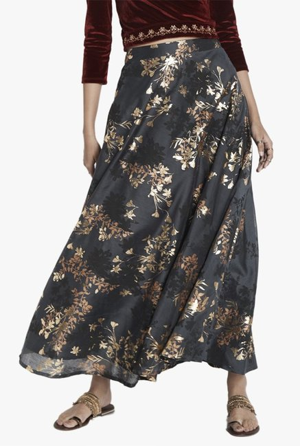 Global Desi Grey Printed Maxi Skirt