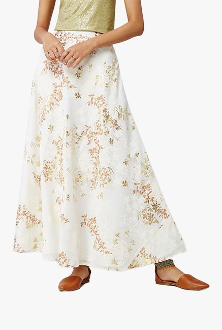 Global Desi Off White Printed Maxi Skirt