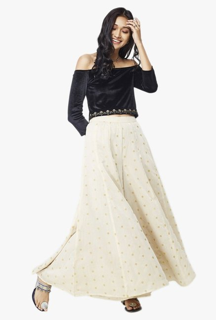 Global Desi Beige Polka Dot Viscose Sharara