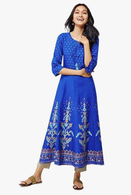 Buy Global Desi Ink Blue Printed Mimosa Kurta for Women Online