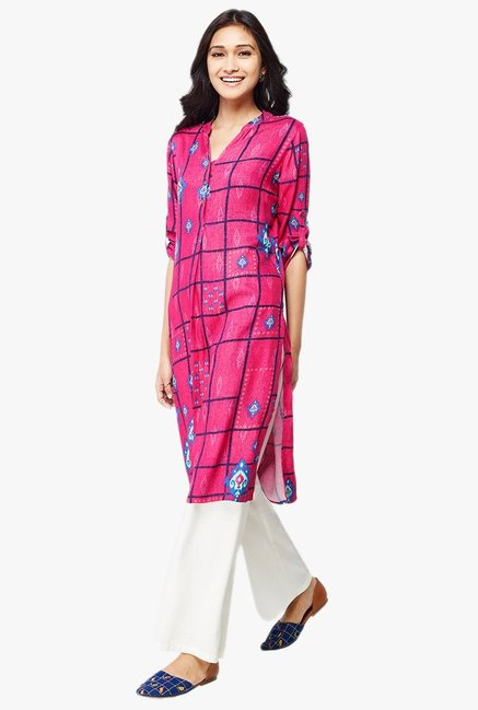 Global Desi Hot Pink Printed Viscose Kurta