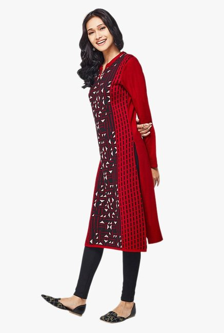 Global Desi Red Printed Acrylic Kurta