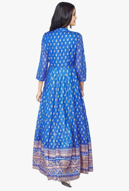 Global Desi Blue Printed Suit Set