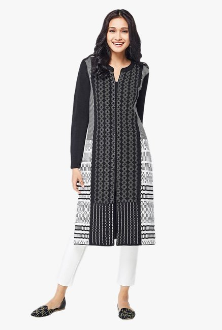 Global Desi Black Printed Acrylic Kurta