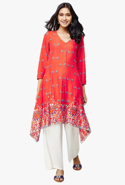 Global Desi Rust Printed Viscose Kurta
