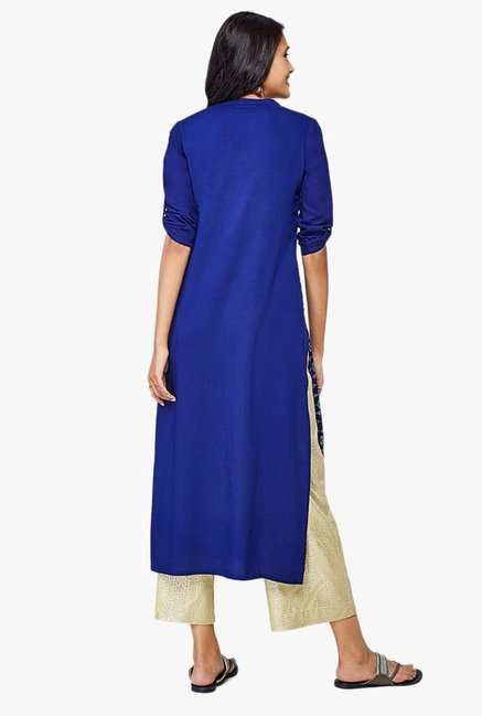 Global Desi Ink Blue Printed Viscose Kurta