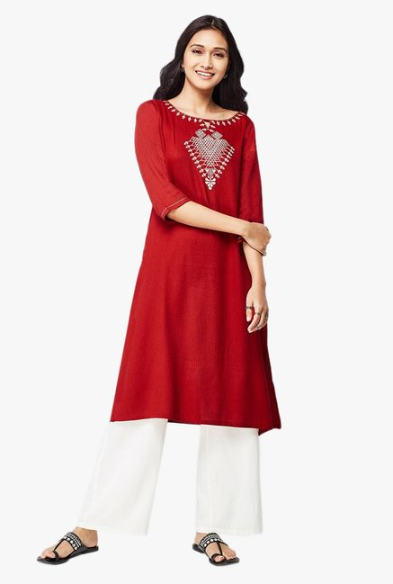 Global Desi Red Embroidered Cotton Kurta