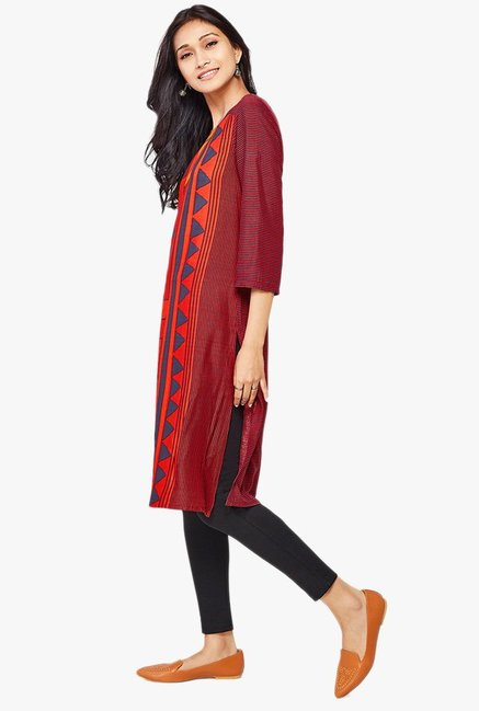 Global Desi Orange Printed Viscose Kurta
