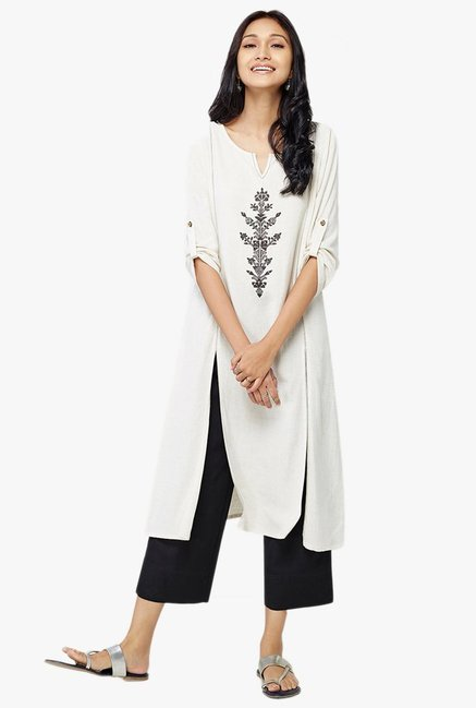 Global Desi Ecru Embroidered Kurta