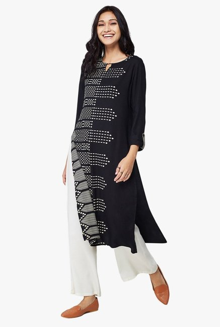 Global Desi Black Printed Viscose Kurta