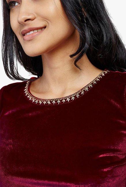 14c26e2e64d Buy Global Desi Maroon Polyester Velvet Crop Top for Women Online ...
