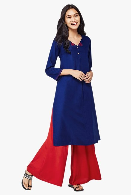 Global Desi Blue Solid Viscose Kurta