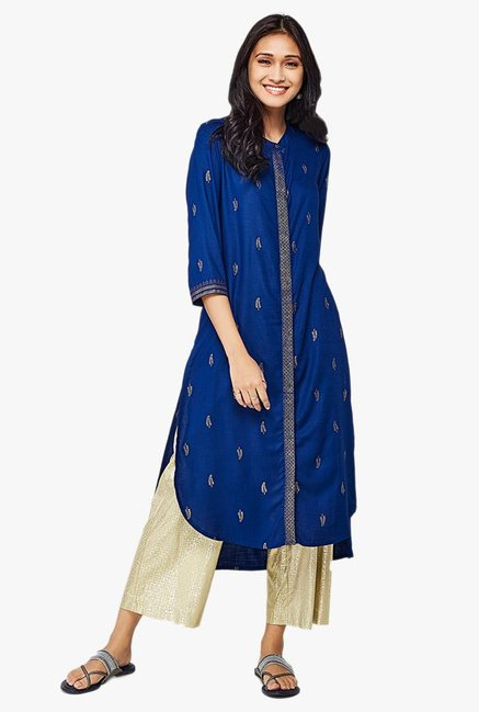 Global Desi Ink Blue Printed Viscose High Low Kurta