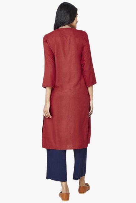 Global Desi Red Solid Viscose Kurta