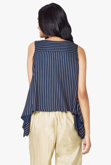 Global Desi Indigo Striped Asymmetric Top