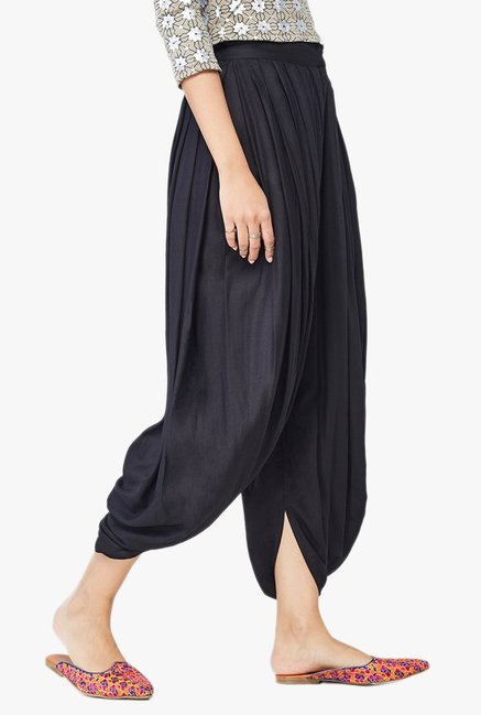 Global Desi Black Viscose Dhoti Pants